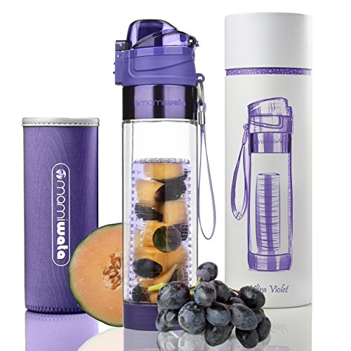 Mami Box - MAMI WATA Fruit Infuser Water Bottle – Beautiful gift box – Unique Stylish Design - Free fruit infused water recipes eBook and insulating sleeve – 24oz (Ultra Violet)