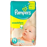 Pampers Swaddlers Diapers Size N for Newborns,  32 Count