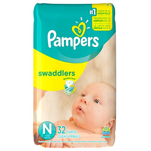 Pampers Swaddlers Diapers, Size N, 32 Count