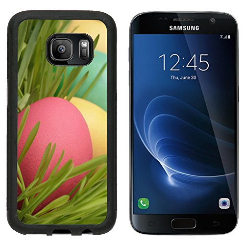 MSD Premium Samsung Galaxy S7 Aluminum Backplate Bumper Snap Case easter eggs hidden in grass close up photo vintage toned IMAGE 26816013