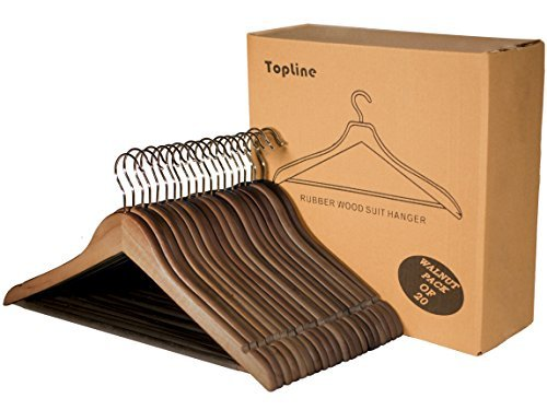 Topline Classic Wood Suit Hangers - 20 Pack (Walnut Finish)