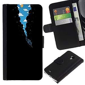 KLONGSHOP // Tirón de la caja Cartera de cuero con ranuras para tarjetas - Surrealista Vía Láctea Buceo - Samsung Galaxy S4 Mini i9190 //