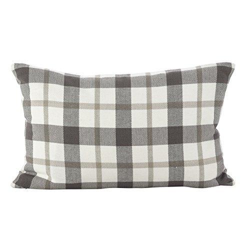 SARO LIFESTYLE Classic Plaid Pattern Cotton Down Filled Throw Pillow, 12