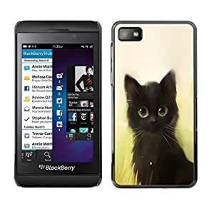 Be Good Phone Accessory // Dura Cáscara cubierta Protectora Caso Carcasa Funda de Protección para Blackberry Z10 // Cute Painting Kitten Cat Black Pet Animal