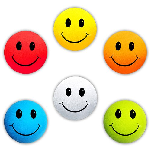 HappyBalls - 6 pcs pack - Assorted Happy Smiley Face Car Antenna Toppers/Antenna Balls/Mirror Danglers (Red, Yellow, Orange, Blue, White, Green)