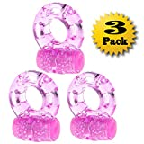 Lover Fire 3 Pack Vibrating Silicone Cock Ring Penis Ring Ultimate Stay Hard Cockring For Men Pleasure Sex Toy - Great for Him and Her Extra Stimulation Penisenlarger Bigger Penis Harder Erections Cock Rings Super Stretchy Comfortable Long Lasting Erection