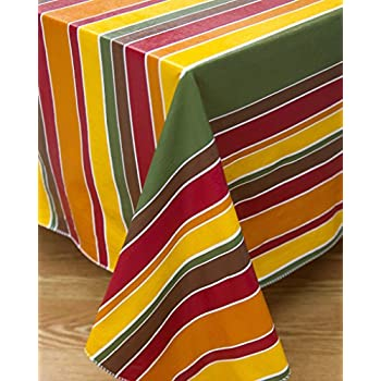 Cinnamon Stripe Flannel Backed Vinyl Tablecloth Indoor Outdoor 60 Inch By  104 Inch Oblong