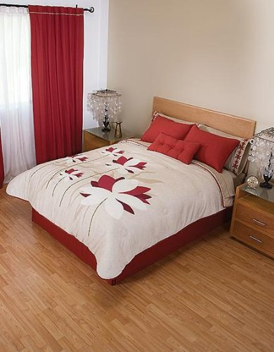 Amazon.com: Red Flowers Beige Comforter Sheets Bedding Set King 9