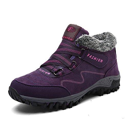 GOMNEAR Men & Women Warm Ankle Boots Winter Outdoor Shoes Snow Non-Slip Flat Shoes Purple