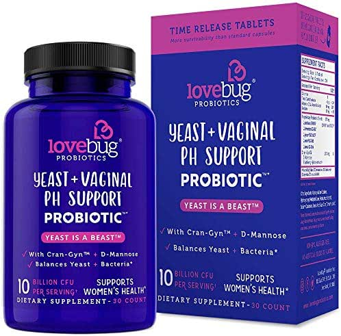 Lovebug Yeast Care Support Probiotics - Feminine Women's Vaginal Health 30 Delayed Release Probiotic Tablets with Cranberry and D-Mannose Supplement - Promotes Urinary Tract + PH Balanced Flora