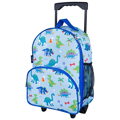 Wildkin Rolling Luggage, Features Telescopic Top Grab Handle with Convenient Extras for Quick and Easy Organization, Olive Kids Design - Dinosaur Land ()