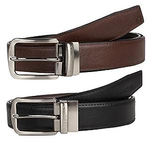MarkQues Ertiga Men's Black And Brown PU Leather Reversible Belt (ER-110102RD) (QTY-01)