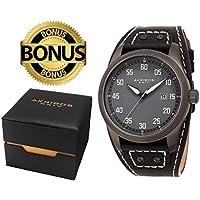 Akribos XXIV Men's AK1024BR Black, Silver & Brown Leather Cuff Strap Watch