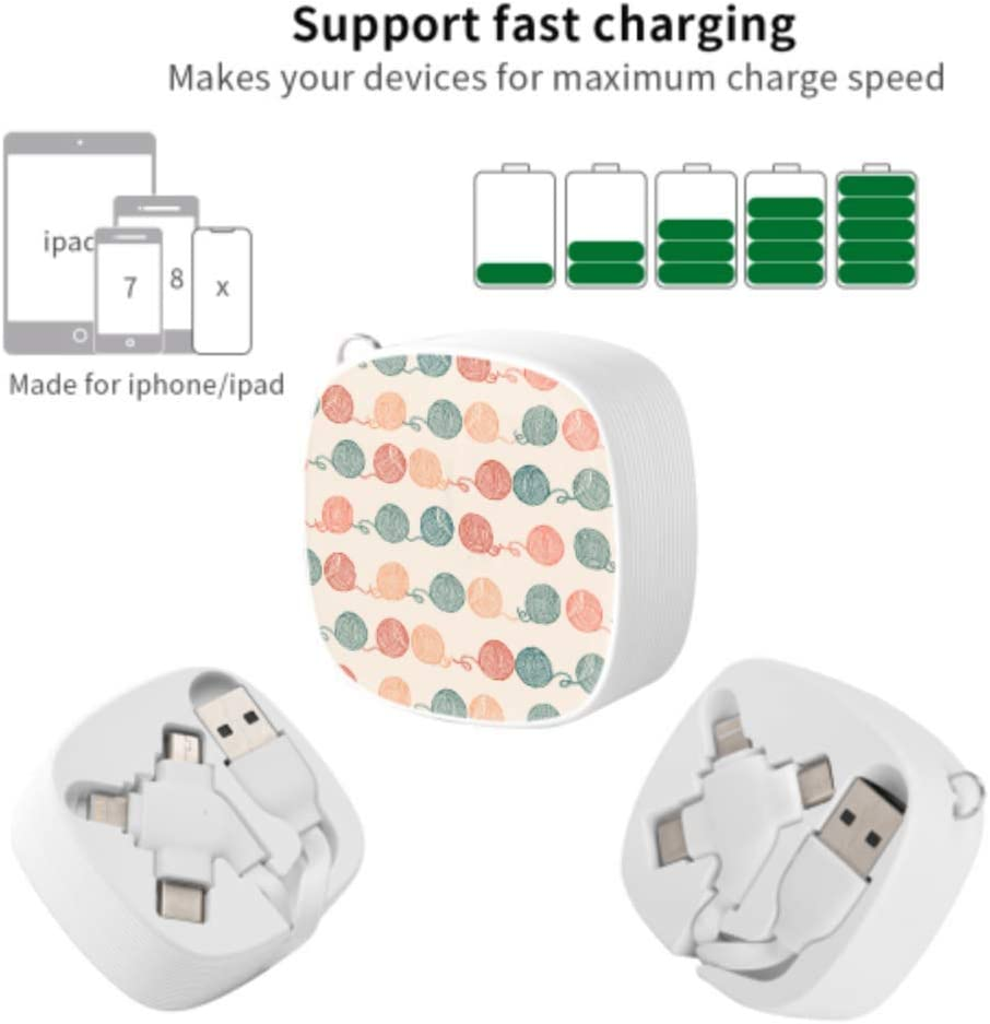 Micro USB Cable Fast Charger Ball Yarn for Knitting Handcraft Multi 3 in 1 Retractable USB Charger Cable Fast Charging with Micro USB//Type C Compatible with Cell Phones Tablets and More