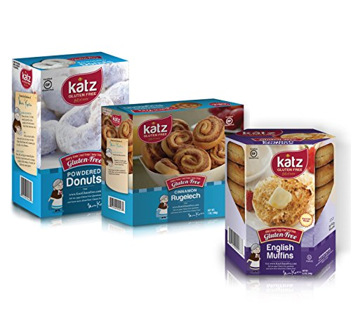 Katz Gluten Free Variety Pack, English Muffin, Powdered Donut, Cinnamon Rugelach