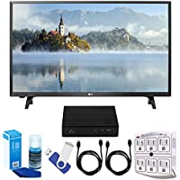 LG 32LJ500B LJ500B Series 32 Class LED HDTV (2017 Model) Plus Terk Cut-the-Cord HD Digital TV Tuner and Recorder 16GB Hook-Up Bundle