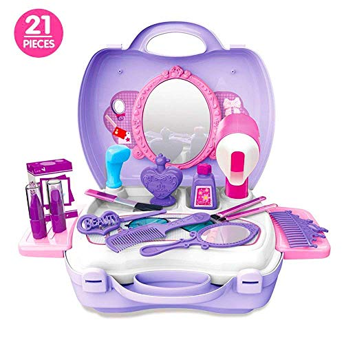 Candice's Sweety 21Pcs Kids Pretend Play Makeup Vanity Case with Mirror Cosmetic Toy Set, Pretend Beauty Dress-up Salon Hair Dryer Suitcase for Little Girls Toddlers