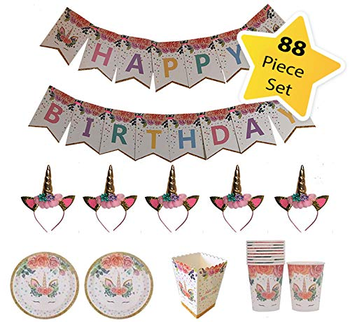 Unicorn Theme Party Supplies - Birthday Decoration Favors, 5 Unicorn Headbands