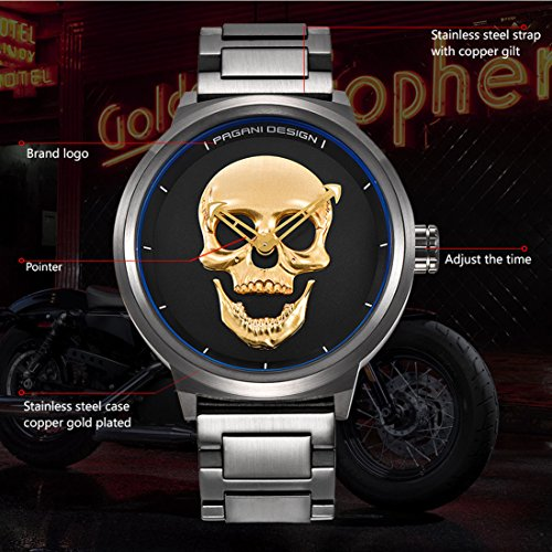 Amazon.com: PAGANI DESIGN Punk 3D Skull Personality Retro Fashion Mens Watch Large Dial Design Waterproof Quartz Watches (Gold): Watches