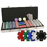 DA VINCI Set of 500 11.5 Gram Poker Chips with Aluminum Case, 3 Dealer Buttons, 2 Decks of Playing Cards and 2 Cut Cards