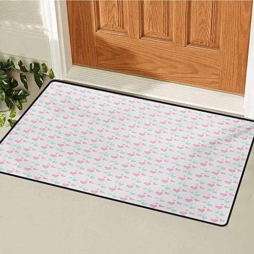 - GUUVOR Kids Front Door mat Carpet Girls Room Inspired Image of Cartoon Hearts Love Valentines Design Machine Washable Door mat W35.4 x L47.2 Inch Pale Pink Mint Green and White