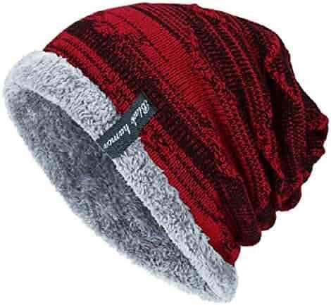 7f5a6910e75906 YSense Mens Winter Warm Slouchy Beanie Oversized Baggy Hat Fleece Lined Knit  Skull Cap