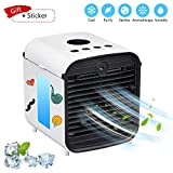 Portable Air Conditioner, USB air Cooler, Humidifier Purifier, Desktop Mini Cooling Fan, Personal Desktop Fan, Five-in-one,3 speeds,Quiet for Personal Spaces Such as Offices, Indoors, Outdoor (White)