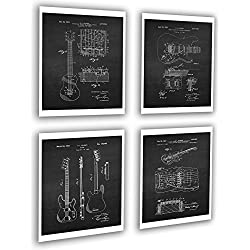 Vintage Fender Guitar Patent Posters Set of 4 Unframed Patent Art Black Chalkboard Wall Art by Gnosis Picture Archive Patents_Fender_Chk4A