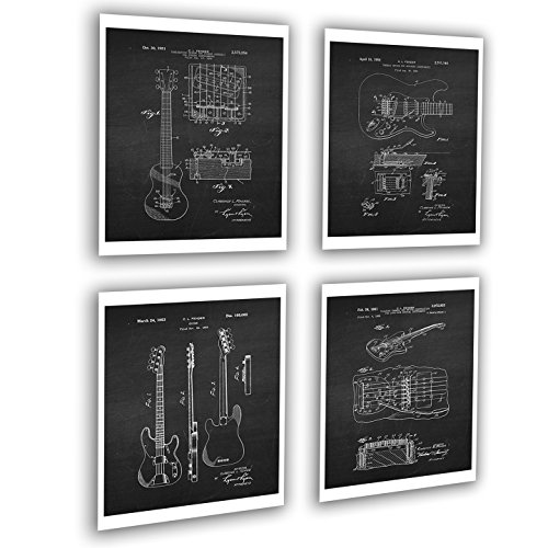 Vintage Fender Guitar Patent Posters Set of 4 Unframed Patent Art Black Chalkboard Wall Art by Gnosis Picture Archive Patents_Fender_Chk4A ()