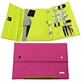 Tablet Sleeve Case hand carry Cover (Up To 10.5 inch) for iPad Air iPad 4, 3, 2 iPad Pro 9.7' 10.5'' MacBook 12' Kindle fire Samsung Galaxy tab with accessories document pencil holder- Rose pink Green
