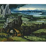 'Patenier Joachim Landscape with Saint Jerome 1515 19 ' oil painting, 10 x 12 inch / 25 x 31 cm ,printed on polyster Canvas ,this Reproductions Art Decorative Canvas Prints is perfectly suitalbe for Basement decor and Home decor and Gifts