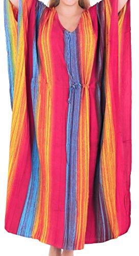 LA LEELA Rayon Tie_Dye Long Caftan Dress Women Dark Pink_1337 OSFM 12-20W [L-2X] by LA LEELA