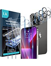 [3+3 Pack] LK 3 Pack Screen Protector for iPhone 13 Pro Max with 3 Pack Camera Lens Protector, Tempered Glass Film, HD Screen, Ultra-Thin,Anti-Scratch, Bubble Free, Sensitive Touch, Easy Installation 6.7 Inch