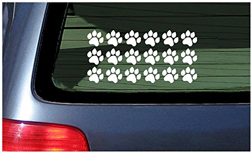18 Paw Print Stickers Vinyl Decal for Cat, Kitten, Puppy, Smaller Design White Cat Foot Prints