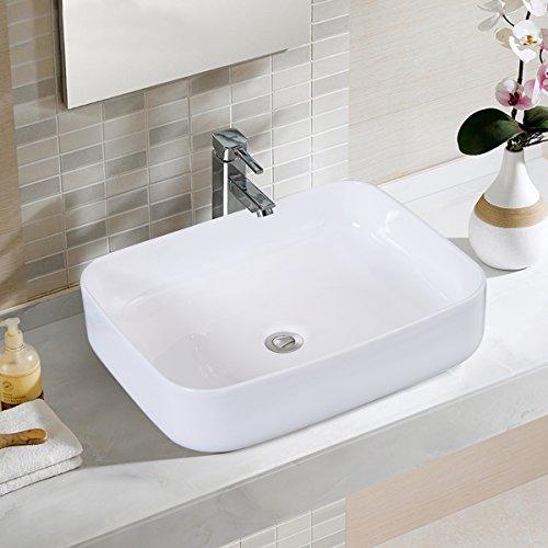 Giantex Bathroom Ceramic Vessel Sink Porcelain Bowl Vanity Basin (White Porcelain Single Bowl)
