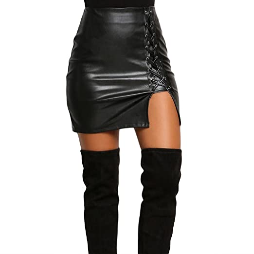 XWDA Women's Faux Leather High Waist Lace-Up Skirt (S, Black)