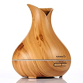 Easehold Aroma Essential Oil Diffuser Humidifer 400ml Cool Mist with Colorful Lights 4 Timer Wood Grain Finish