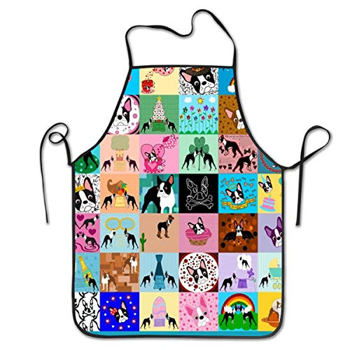COLOMAKE Crazy Faux Boston Terrier Bib Apron Waterproof Event Party BBQ Cooking Kitchen Aprons for Women Men Adults Chef