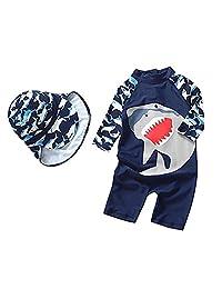 Zulaniu Baby Boys Swimsuit One Piece Swimwear Sunsuit with Hat Shark Rash Guard