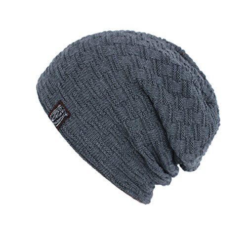 Iuway Stylish Unisex Crochet Slouchy Baggy Crease Winter Knit Beanie Cap Skull Hat (Gray)