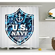 "Ambesonne Anchor Shower Curtain by, Military Camouflage with US Navy Since 1882"" Uniform Army Force Ship, Fabric Bathroom Decor Set with Hooks, 70 Inches, Blue White Navy Blue"