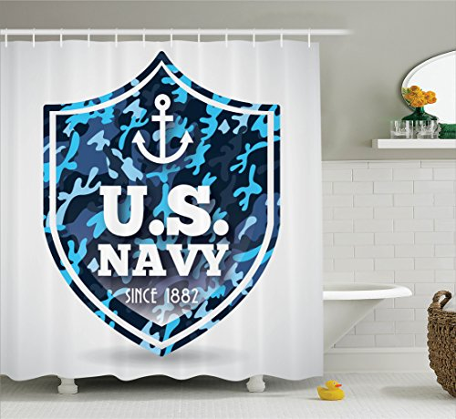 Amazon Ambesonne Anchor Shower Curtain Military Camouflage With US Navy Since 1882 Uniform Army Force Ship Fabric Bathroom Decor Set Hooks