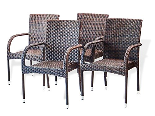 Patio Resin Outdoor Garden Deck Wicker Arm Chair. Dark Brown Color (Set of 4)