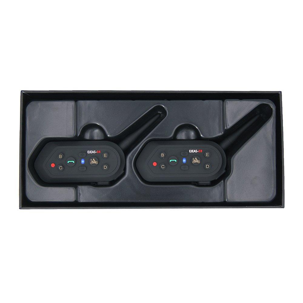 EJEAS/® E6 Casco de Motocicleta Con Auriculares de Intercomunicador Inal/ámbrico para Seis Personas 1200m VOX Bluetooth MP3 GPS con Programa de Conexi/ón Actualizable