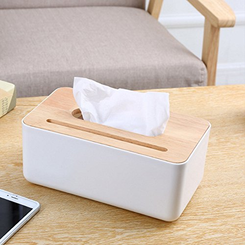 Oak Tissue Holder (Homespace Creative Desktop Tissue Box Wooden Cover with Cellphone Holder Rectangular White)