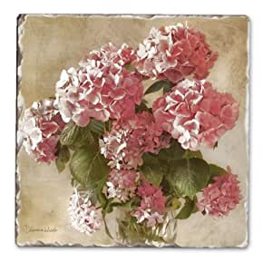 CounterArt Antique Hydrangea Tumbled Tile Coasters, Set of 4