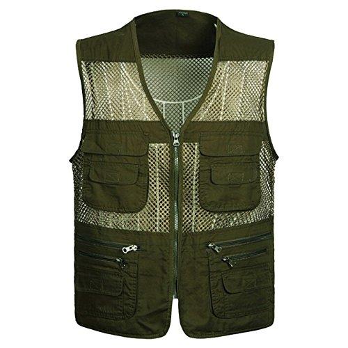 Ziker Mens Mesh Fishing Vest Photography Work Multi-Pockets Outdoors Journalists Vest Jacket