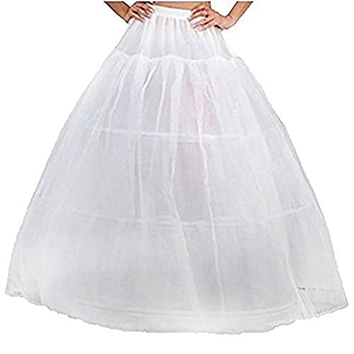 CLOCOLOR Womens Puffy Slip Underskrit White Petticoat Crinoline for Wedding Dress Prom Gowns 3 Hoops