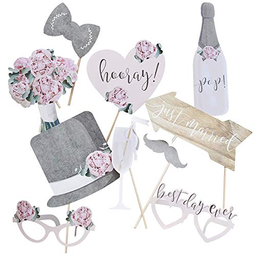 Wedding Photo Booth Props Wedding Games Party Games for Adults or Kids Wedding Decorations Pack of 10