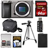 Sony Alpha A6000 Wi-Fi Digital Camera Body (Graphite) 64GB Card + Case + Battery + Tripod + Kit